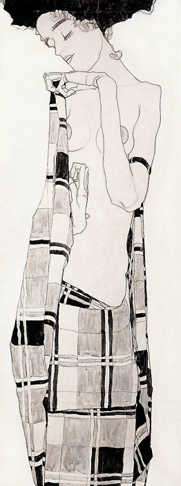 darksilenceinsuburbia:  Egon Schiele.  Standing Girl in Plaid Dress, 1908-09.