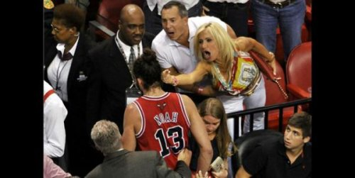 Super Classy Woman Flips Off Joakim Noah During Bulls Vs Heat Game She must really hate the number 13.