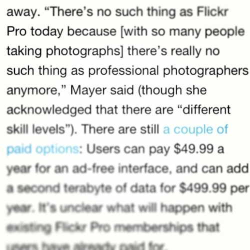 "thephoblographer:  Marissa Mayer: ""There is no such thing as a professional photographer anymore."" Image from Zack Arias's Instagram Yup, you just read that right. According to a report from Giga…View Post"