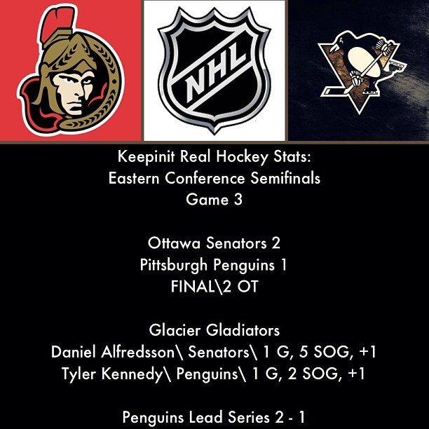 #NHL #EasternConferenceSemifinals #Ottawa #Senators #Pittsburgh #Penguins #GlacierGladiators #TylerKennedy #DanielAlfredsson #Hockey #IceHockey #Sports #Instasports #keepinitrealsports #MysterKeepinit