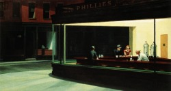 cavetocanvas:  Edward Hopper, Nighthawks, 1942 Things to think about when studying: Hopper was known for simple, quiet compositions - what formal qualities does he use to invoke the idea of alienation? Name two other Hopper paintings that have a similar theme of aloneness or abandonment