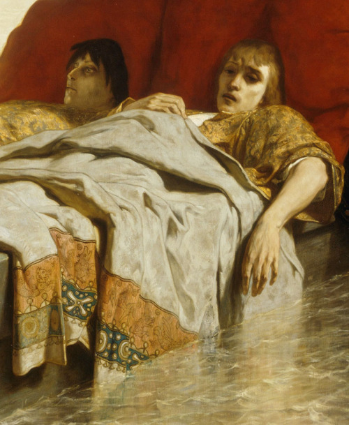 jaded-mandarin:  The sons of Clovis II - Evariste Luminais. Detail.    Alarmed by her sons' rebellion against their absent father, King Clovis, their mother - the regent Sainte Bathilde - has their tendons cut before sending them, immobilised, downstream on a barge to their fate.