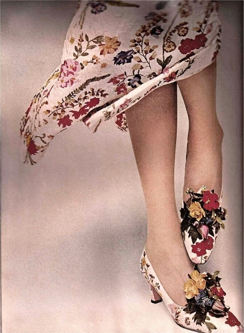 garoopatternandcolour:  Model wearing shoes by David Evins with a matching dress by Galanos for Harper's Bazaar, 1965.