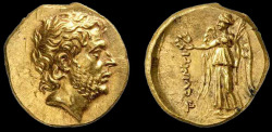 romegreeceart:  A Greek gold coin depicting Titus Quinctius Flaminus, a Roman proconsul and general who defeated Philip V of Macedon and proclaimed Greek city states free. Greece, ca. 196 BC