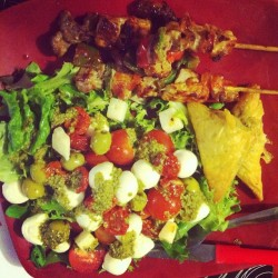 Over indulgent Monday pork and pepper skewers, feta and spinach parcels with tomato olive mozzarella pearls and pesto salad….I am soooo full now lol x