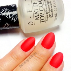 OPI Matte Top Coat over Essie Snap Happy
