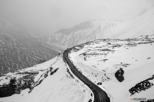 cadenced:  The heavy snow on stage 15 of the Giro d'Italia created horrendous conditions for the riders, but great opportunities for the photographers. Photo comes from CyclingTips' gallery of photos from stages 10 to 15 of the Giro