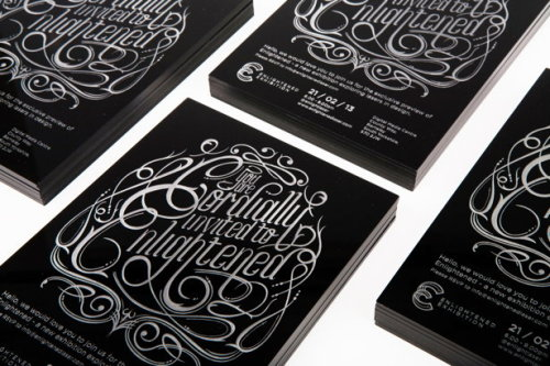 Typeverything.com Enlightened Invitations – Laser engraved type on thick black acrylic by DMSQD.