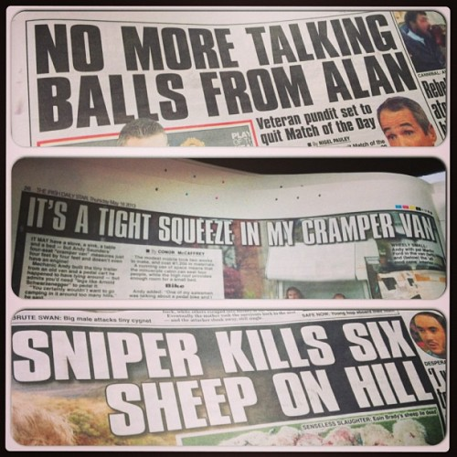 Irish headlines are the best headlines in the world. #irish #papers #instacollage