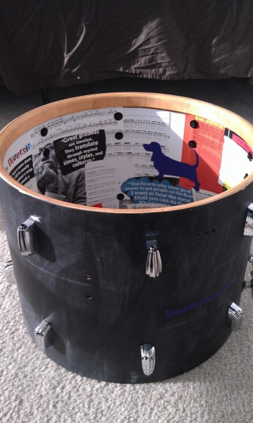 Inside of my chalkboard finish drum. Vintage quotes, articles and pictures from Modern Drummer.
