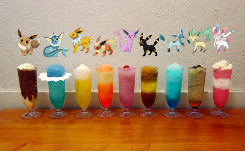 thedrunkenmoogle:  meowpurrnom: Frozen Eeveelution drinks (Pokemon cocktail set) Tumblr user meowpurrnom created and submitted these fantastic Eeveelution frozen cocktails! I hope you've saved up some evolutionary stones, because you're going to want to catch 'em all! The ingredients are listed blow, but she has detailed the approximate ingredients in this post. Eevee: cake vodka, Kahlua, Bailey's, chocolate eclair ice cream bar, chocolate syrupVaporeon: rum, Malibu, blue curacao, pineapple juice, SpriteJolteon: tequila, red bull, margarita mix, lemon juice, Sprite, salt on the rimFlareon: fireball whiskey, peach schnapps, iced tea, lemonade, dash of strawberry syrup (for color)Espeon: strawberry vodka, Hpnotiq Harmonie, Chambord, cranberry juice, SpriteUmbreon: bourbon, coke, lemon juice, orange juiceGlaceon: rum, blue curacao, peppermint schnapps, lemonade, soda water, sugar on the rimLeafeon: tequila, peach schnapps, lime juice, ginger ale, mint, honey and a drop of chocolate syrup for decorationSylveon: cake vodka, strawberry vodka, Bailey's, strawberry shortcake ice cream bar, cream, strawberry syrup Created and photographed by meowpurrnom.