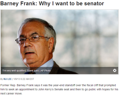 More on Barney Frank's Senate push: Frank toyed with the idea the other day on television, but it looks like he's putting in all of his chips. We can't say we're terribly surprised to see Barney Frank trying to jump back into politics so soon. Considering his three-decade run in the House, we'd be willing to bet more than a few Massachusetts residents would love to see Gov. Patrick select the former U.S. Representative as Sen. John Kerry's replacement. That is, of course, assuming President Obama's current nominee for Secretary of State is ever confirmed by Congress. source