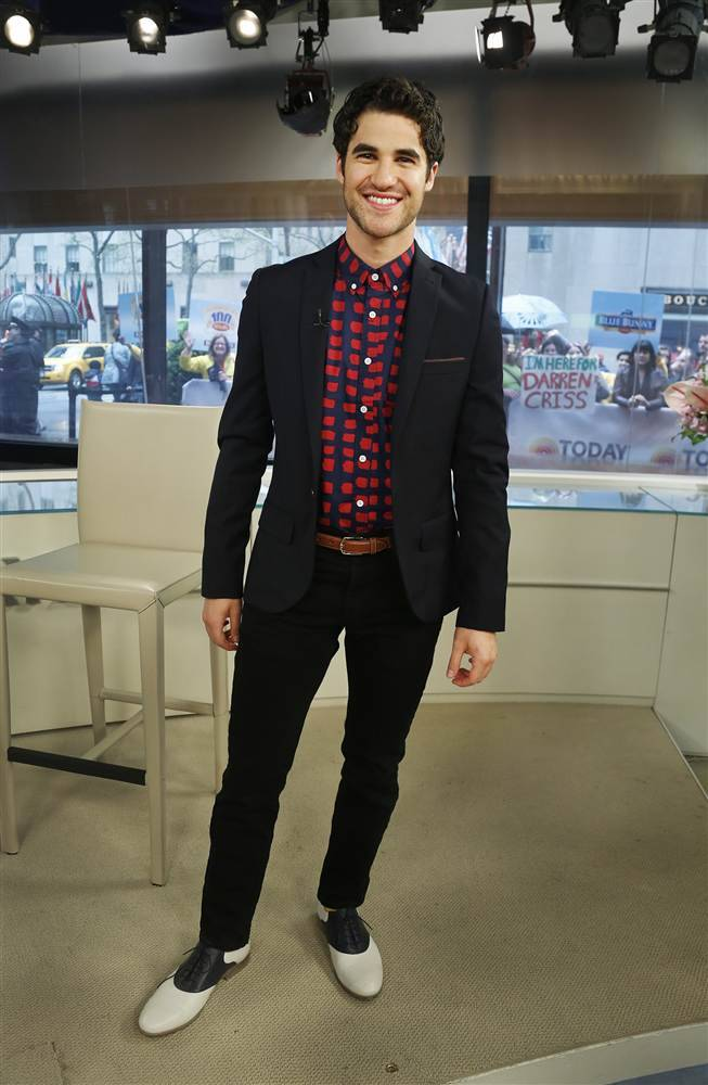"What I Wore TODAY: Darren Criss Darren Criss stopped by TODAY on Monday, sporting his trademark colorful style, and chatted about the new season of ""Glee"" as well as his upcoming solo tour. Did you like what Criss was wearing? Here are the details:  Topman Premium jacket   Saturday's NYC shirt   Levi jeans   Mr. B shoes  Criss said his look is the result of balancing the traditional with the unexpected. ""I believe in flashes of color. I'm a big sock guy. If you're going to be conventional, always throw in a dash of unconventional,"" he said. ""Some people can pull it off, some don't, but just know what works for you."" For Criss, the most important element of fashion is embracing your look and being comfortable with it. ""Whether it's fashion or anything, the key is owning up to what you're doing at all times. If you're a bad dancer, they tend to be the funnest at the party because … they're just having the most fun,"" Criss said. ""Sometimes the confidence sort of precedes the actual content."" Today.com"