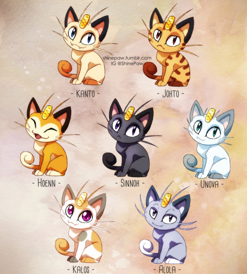 artists on tumblr pokemon pokemon sun and moon pokemon variations Pokemon subspecies meowth alola alola meowth my art fanart digital art paint tool sai cat kitty