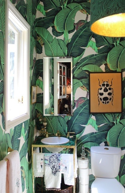 | Shelter | Fun powder room wallpaper!  xxDC