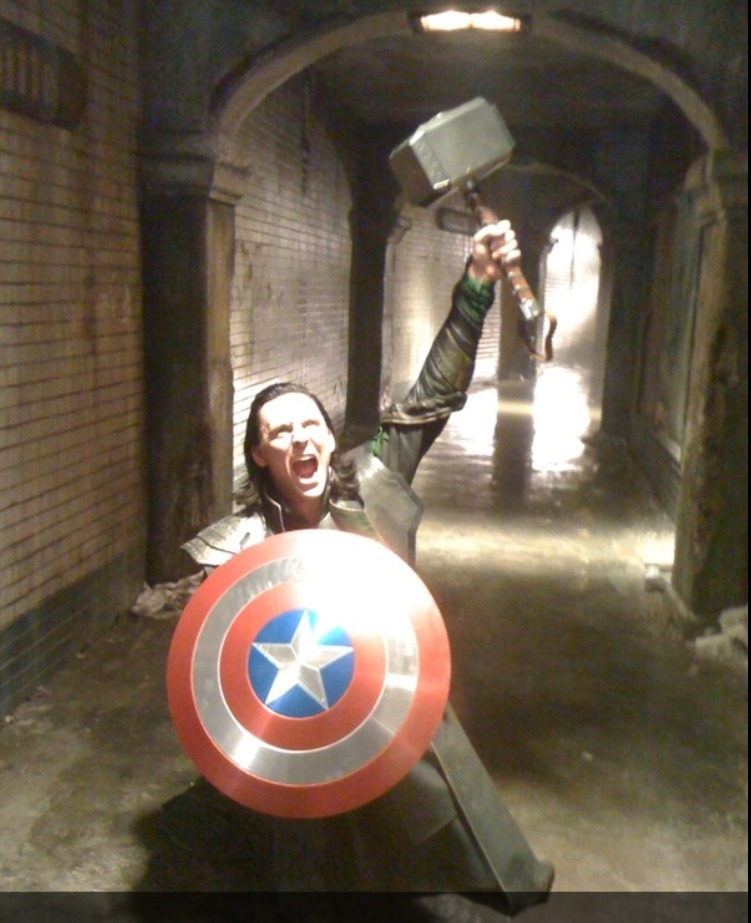 "forth-eorlings:  '""I am Loki, of Asgard, and I am burdened with a glorious Props Department"". #Avengers #BehindTheScenes #stupidity' From whosay"
