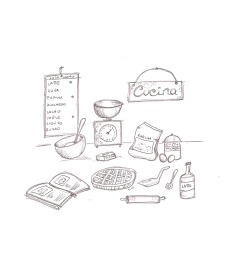 Basic cake making….illustration by Ilaria Vallone
