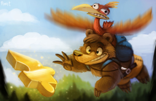 lepetitdragon:  cryptid-creations:  DAY 183. Banjo and Kazooie (35 Minutes) by *Cryptid-Creations Technically Banjo isn't exclusive to Nintendo to fit with this week's theme, but most of us grew up with it on the N64, so methinks it counts. Not too big on the pose…egh. Banjo and Kazooie (c) Rare  Banjoooo! (to be sung like 'Django')