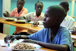 Haiti Impoverished children receive a nutritious meal at school in Haiti. Take a moment today to pray for vulnerable children in Haiti and around the world—pray for access to the food they need to grow and thrive. Sign Up to get Photo Prayer of the Day sent to your inbox!
