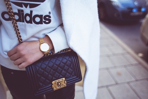 adidas black blogger chanel chanelbag chic coat cold cool fashion girl gold kenza model nice outfit style watch white kenzazouiten kenzas kenzas.se