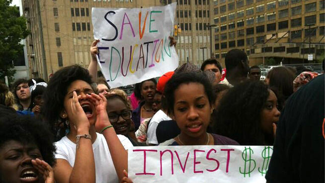 "thepeoplesrecord:  Outraged against austerity, students & teachers in Philadelphia resist the machine of capitalismMay 17, 2013 Dozens to hundreds of Philadelphia students, teachers and school staff protested outside one of the city's premiere high schools in an effort to fight proposed budget cuts to the district. Wearing signs and handing out pamphlets to drivers, members of the Philadelphia Federation of Teachers lined the sidewalk outside the Philadelphia High School for the Creative and Performing Arts along South Broad Street Friday morning. The teachers are fighting a series of severe budget cuts proposed by the district to close a more than $300 million funding gap. The proposed cuts include ending arts and music programs, sports and cutting auxiliary staff like secretaries, librarians and counselors. ""With the austere budgets schools have received, schools will not be able to provide a high-quality education for Philadelphia's children,"" said Jerry Jordan, president of the Philadelphia Federation of Teachers. Jordan says the teacher's union has been discussing labor concessions with the district. However, he says a concession that results teachers taking a pay cut is a non-starter. ""The school district is asking for salary cuts for all PFT members of anywhere between 5, 10 and 13-percent,"" he said. ""I don't think that you'll find employee in the school district and the PFT…who are going to tell you that they can afford to take that kind of pay cut."" The teacher protest is just the first of many demonstrations planned Friday over the funding flap. Students from Philadelphia public schools around the city have also walked out of class and are marching on the School District of Philadelphia and Philadelphia City Hall. Similar walkouts were organized last week by students, who also marched on the same spots. District spokesman Fernando Gallard says staff will not stop students from walking out, but says officials have asked principals remind students that leaving early will results in being marked as cutting. ""Schools will follow the district's attendance policy and will take the appropriate action which triggers at least a phone call to parents to notify them of the student's absence, a request for a parent conference at the school, or after school detention,"" he said. Students are using Twitter to organize and document their protests. The group Philly Student Union is promoting the hashtag #walkout215 as a digital rally point during the event. Source   Philadelphia youth X challenges Let's teach them to be autonomous learners."