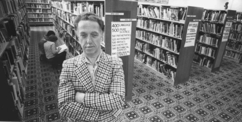 Librarian Robert Block in a Medicine Hat Library, 1980
