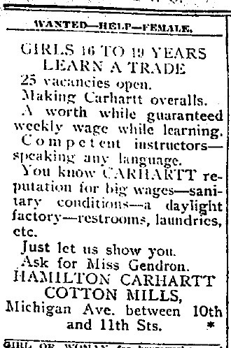 Hamilton Carhartt Cotton Mills Wanted-Help-Female