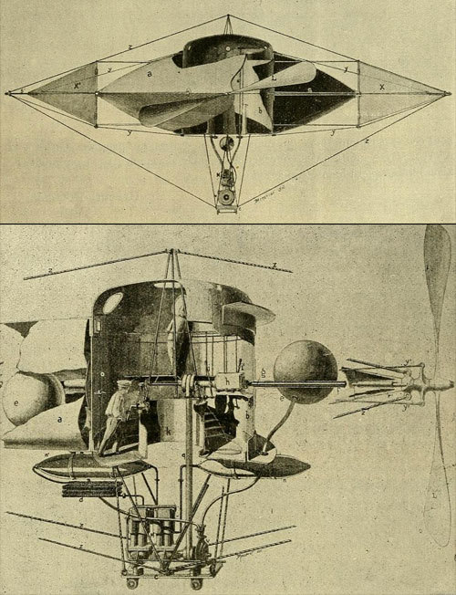 "the airship ""Le Girardot"", proposed by Léonce Girardot, circa 1900  via L'Aerophile, v10"