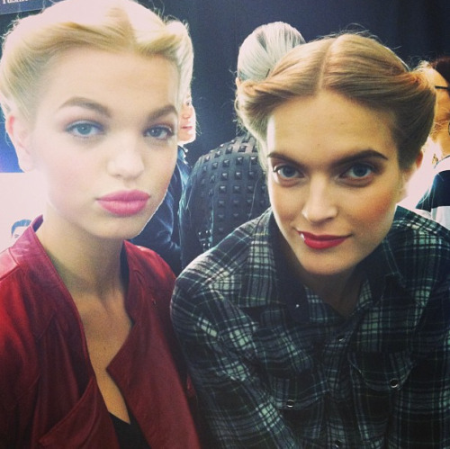 The look backstage at Carolina Herrera: elegant and classic. Hair, nails and makeup all inspired by '40s. Photographed by Lauren Drago.