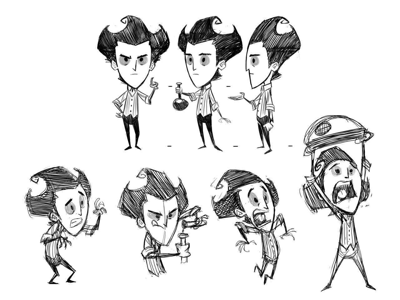 jeffagala:  poses for the short we did for Don't Starve