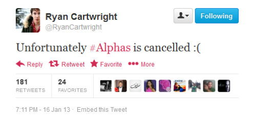 As you may have heard by now, Alphas has been canceled. It's very sad news to hear as Ryan and the cast are all so talented and the show really was outstanding. Not only did they cancel it, but they left it with that cliffhanger? I wish we could have found out what was next for the show, but these things happen and I wish the best to the cast and know they will go on and do great things. We'll always remember Alphas.