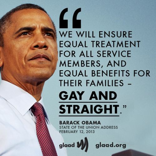 glaad:  President Barack Obama used part of his State of the Union Address to discuss equal protections for the families of gay service members.
