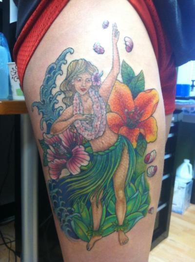 alex sabur-Low Tide Tattoos, jessup, md my beautiful hula dancer :) my lil tribute to the state i was born!