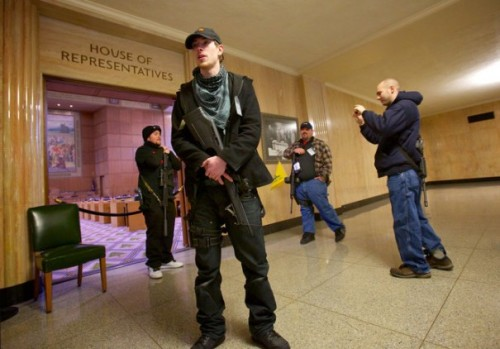 think-progress:  Armed pro-gun protesters occupy the Oregon State Capitol