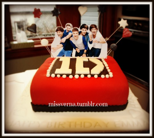 A One Direction cake for a special girl turning 9 years old. this cake got more attention than anything else I've made.