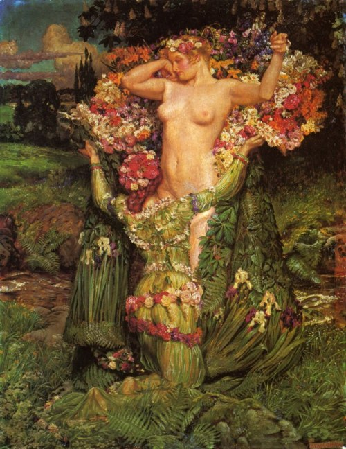 mortalcolddecay:  Spring Rising, John Byam Shaw, 1899.  Is it just me or does it look like the kneeling figure is about be to be dining at the Y. Or maybe I'm just thinking of it because of the last Game of Thrones episode.