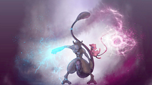 we-all-live-in-a-pokemon-world:  Pokemon Mew and Mewtwo HD Wallpaper by ~tommospidey