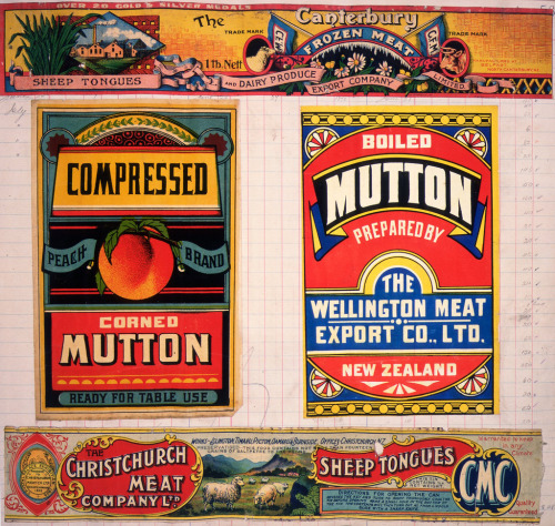 Canned Meat labels from 1890-1920 via National Library of New Zealand bonus!!!: In 1870, New Zealand received its first shipment of canned meat. Way to go 1870 New Zealand!