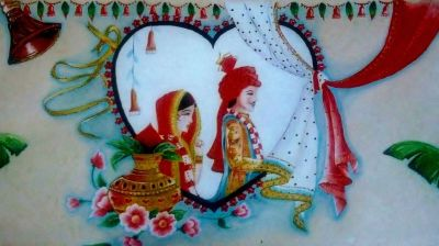 Hindu wedding poster - acrylic paint.  Created for a friends wedding