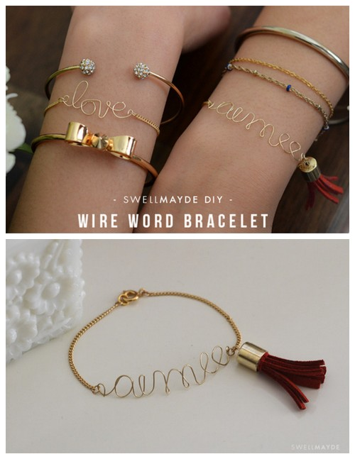 DIY Wire Word Bracelet with Suede Tassel Tutorial from Swellmayde here. Really clear tutorial with links to all the supplies. For more wire tutorials (lots with wire spelled out words and hearts) here: truebluemeandyou.tumblr.com/tagged/wire