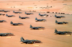 joetisor:  F-15Es parked during Operation Desert Shield.