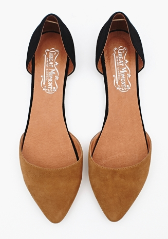 jaclynday:  Ugh. Love these Jeffrey Campbell flats. Do not love the price ($98). Will try to find similar pair for less.  ETA: I checked Lulus. They've got D'Orsay flats all over the place, but no two-tone. Must have two-tone. ETA 2: Steve by Steve Madden makes a similar pair at $85.   JUST before seeing this post, I'd pinned a similar pair from ASOS. Not suede, but similar nonetheless.