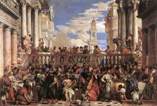 womanonfire:  cavetocanvas:  Paolo Veronese, The Marriage at Cana, c. 1563  whenever i'm in the Louvre I always look at this instead of the Mona Lisa which is in the same hall, surrounded by tourists, snapping away.   Same here, Auriea. That's why I took this photo:   catching a glimpse of the mona lisa