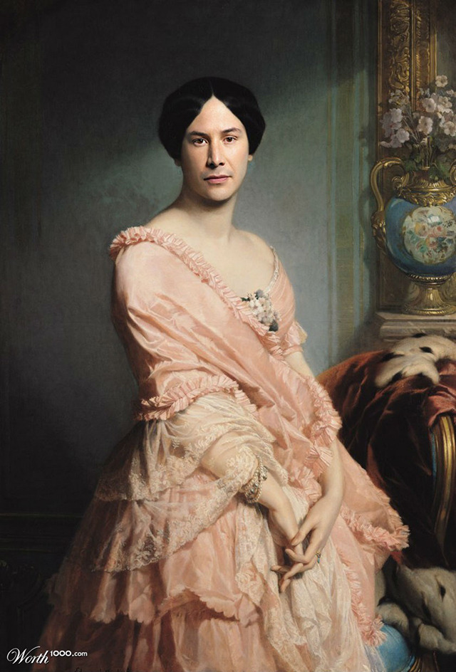 tastefullyoffensive:  Classic Paintings Recreated Using Modern Celebrities[worth1000/laughingsquid]