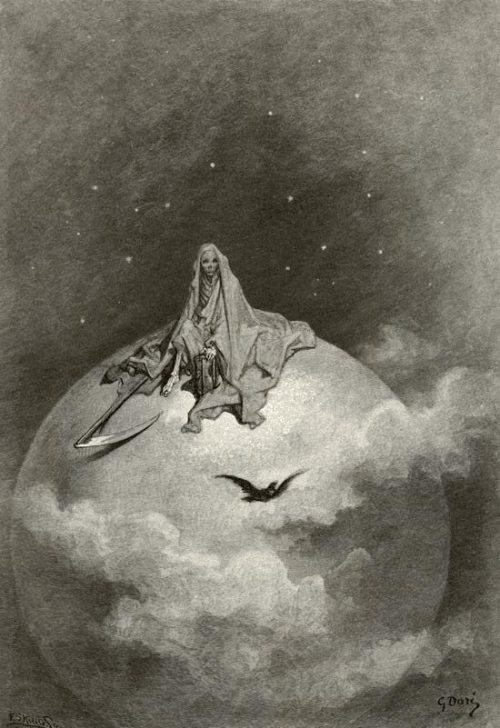 fieldofwax:  Gustave Doré illustration to the 1884 edition of Edgar Allan Poe's The Raven: Doubting, dreaming dreams no mortal ever dared to dream before.   Doubting, dreaming dreams no mortal  ever dared to dream before.
