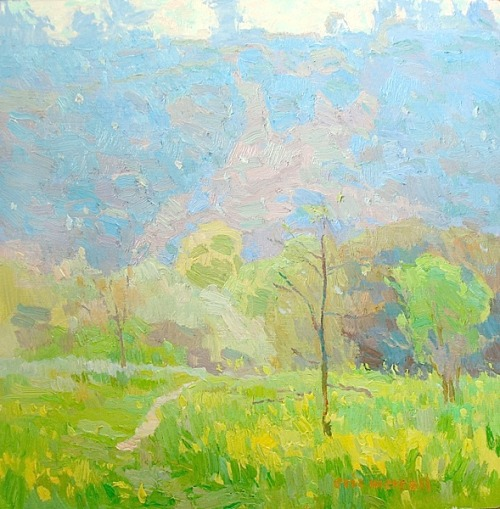 bofransson:   Eric Merrell - Spring in the Arroyo   My mom's favorite word for budding trees in springtime: frothy.