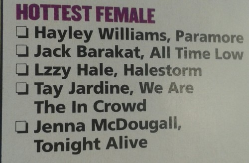 danny-whoresn0p:  Jack's been nominated for hottest female in the Kerrang awards.