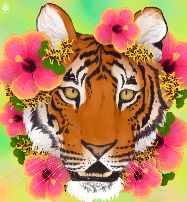 Another old gift art for a friend!                    #drawings n shit #tiger#big cat#flowers#animal art#animal portrait#digital art