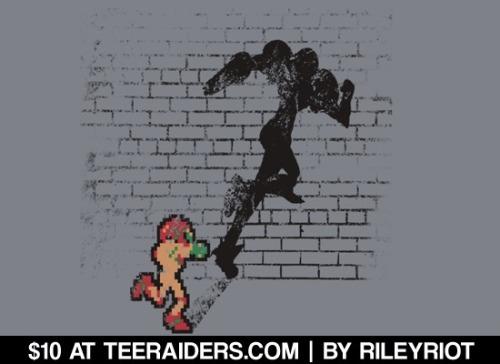 """Becoming Samus"" by RileyRiot is $10 on tees this weekend at TeeRaiders.com."