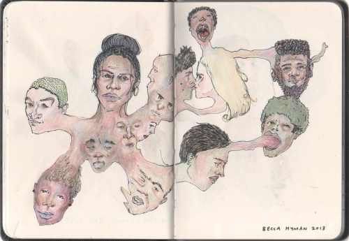 fuckyeahmoleskines:  neighbours II;I'm working on more distorted morphing heads, you can see more if you like at http://beccahyman.tumblr.com/
